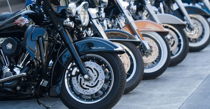 Harley-Davidsons parked in a row